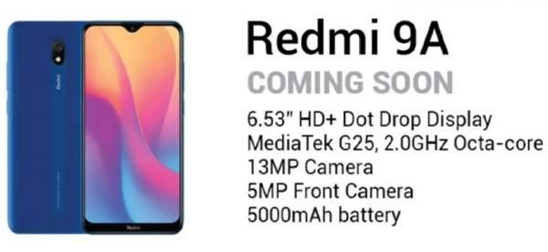 Redmi 9A будет работать от MediaTek Helio G25 SoC, аккумулятор 5000 мАч