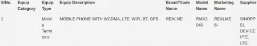 Realme 6i получает сертификат IMDA в Сингапуре