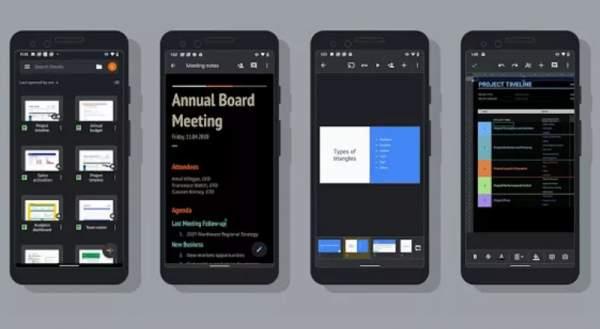 Docs, Sheets и Slides Google теперь имеют темную тему на Android