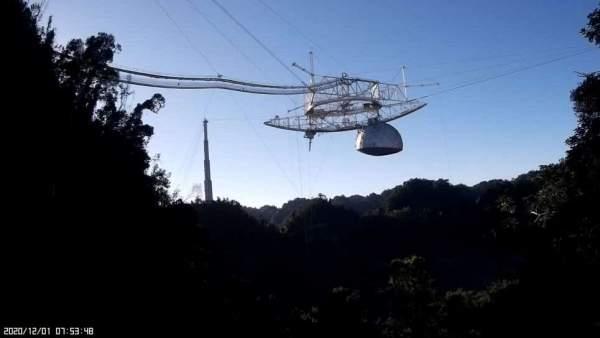 Эффектное видео показывает крушение радиотелескопа Arecibo