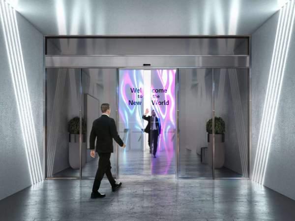 LG интегрирует прозрачные OLED-дисплеи в раздвижные стеклянные двери